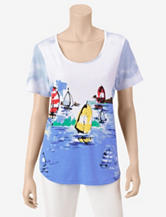 Rebecca Malone Sailboat Watercolor Destination Print Top – Misses