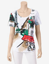 Rebecca Malone Parisian Watercolor Destination Print Top – Misses