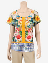 Signature Studio Yellow Floral Tropic Top – Misses