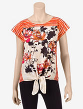 Siganture Studio Red Floral Panel Tie Top – Misses