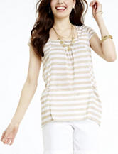 Hannah Taupe & White Striped Eyelet Yoke Top – Misses