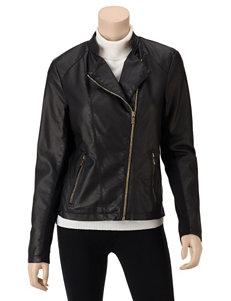 Calvin Klein Black Faux Leather Zippered Moto Jacket