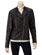 Calvin Klein Black Faux Leather Zippered Moto Jacket