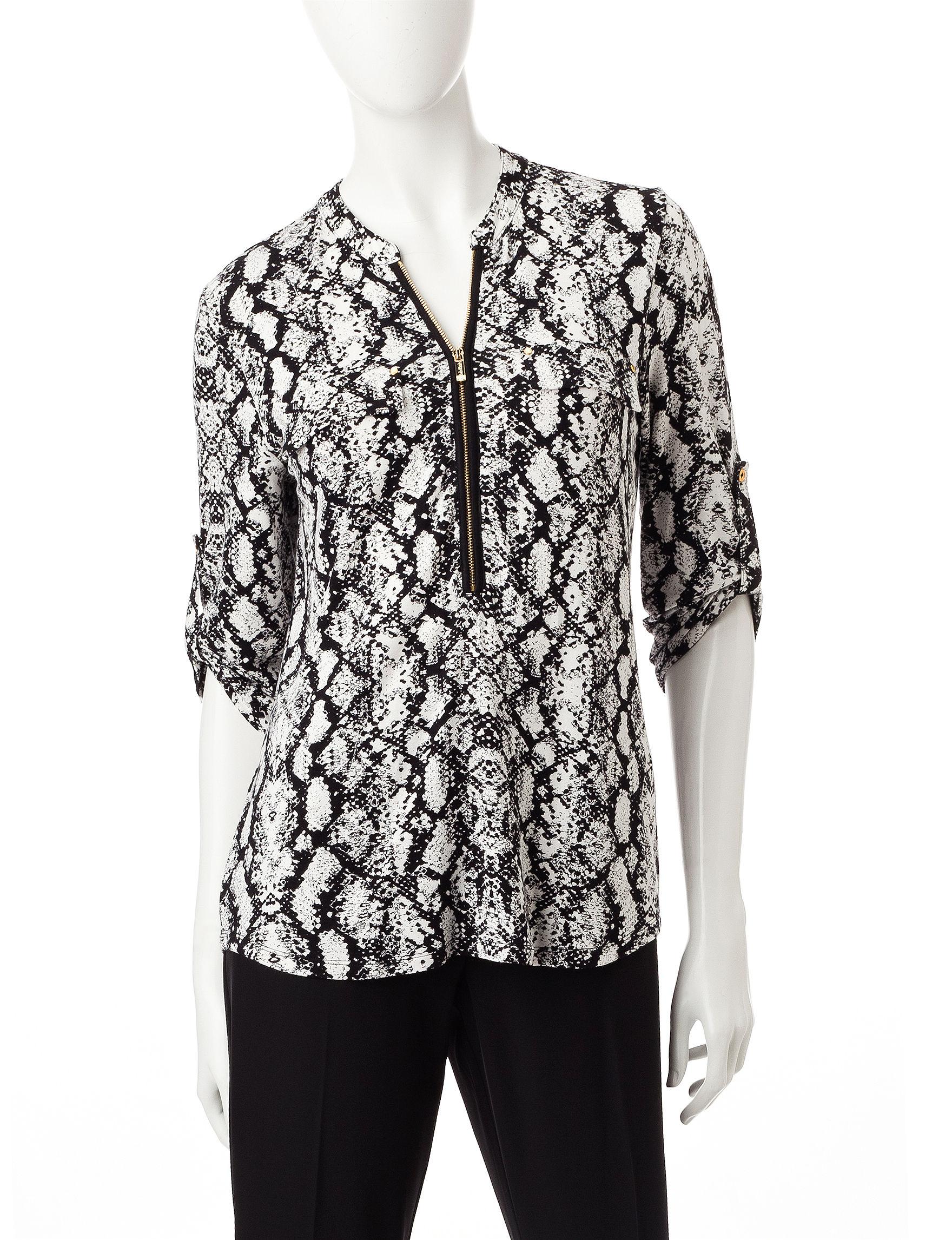 Calvin Klein Grey / White Shirts & Blouses