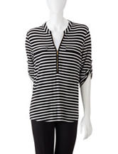 Calvin Klein Black & White Striped Print Roll-Tab Top