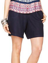 Hannah Multicolor Solid Color Smocked Linen Shorts – Misses