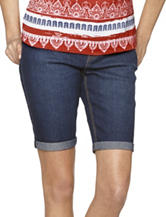 Hannah Solid Color Denim Rolled Cuff Bermuda Shorts – Misses