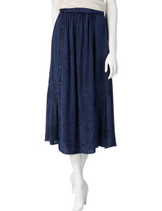 Studio West Dark Wash Embroidered Pull-On Skirt