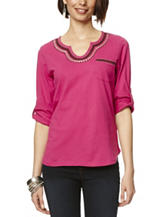 Hannah Solid Color Embroidered Trim Pocket Top
