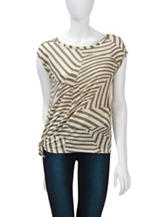 DKNY Jeans Olive & Oatmeal Mixed Striped Print Top
