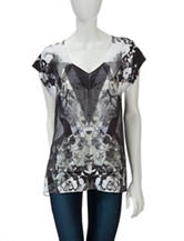 Energé Multicolor Floral Print Chiffon Overlay Top