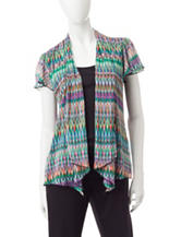 Sara Michelle Tonal Brown Shimmering Chevron Print Layered-Look Top