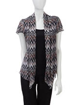 Sara Michelle Tonal Brown Shimmering Chevron Print Layered-Look Top – Petites