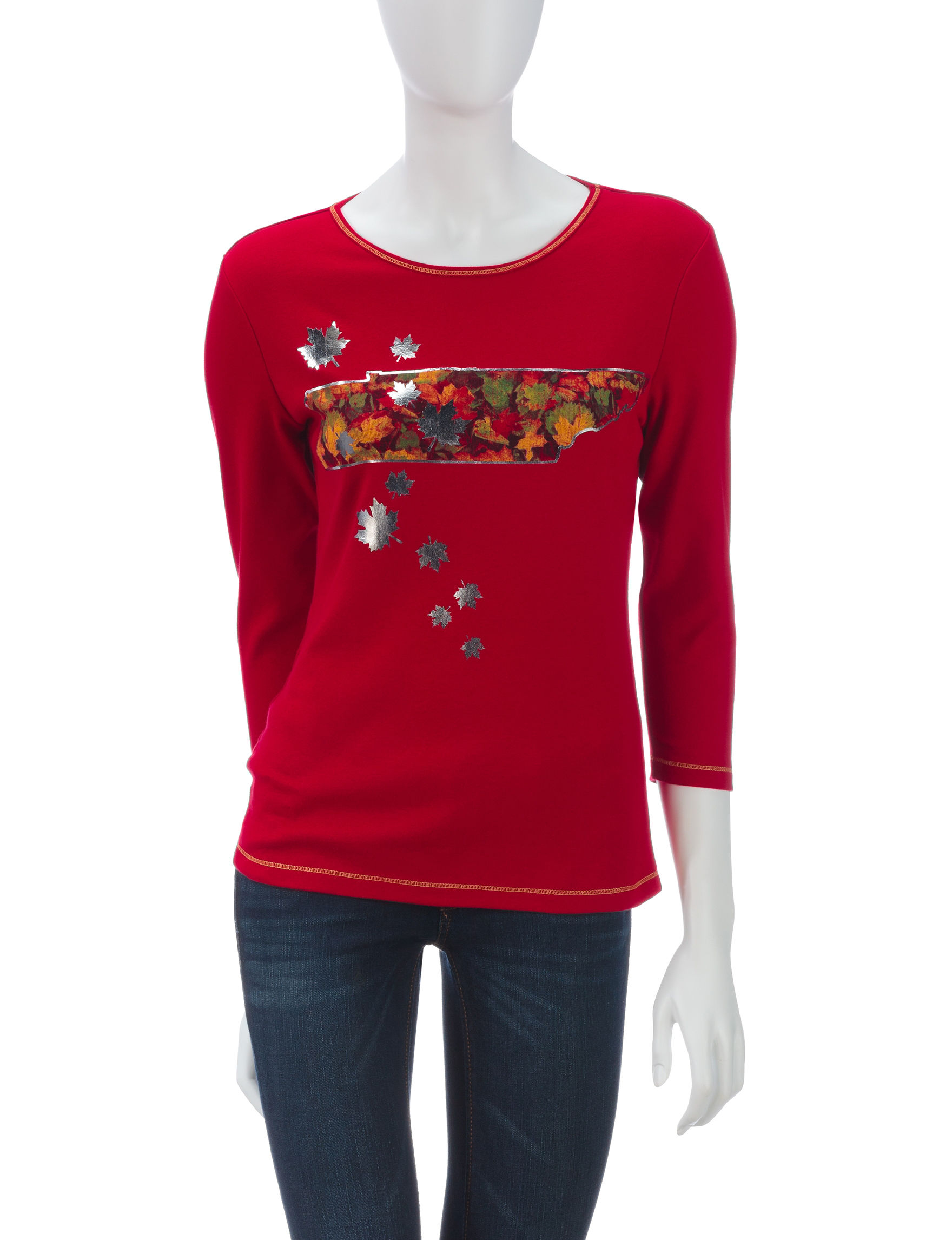 Blue Canyon Red Shirts & Blouses Sweaters