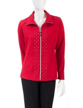 Three Hearts Solid Color Quilted Stud Embellished Jacket