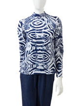 Rebecca Malone Tonal Animal Print Mock Turtleneck Top