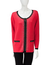 Cathy Daniels Chanel Color Block Jeweled Cardigan