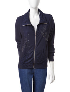 Onque Casuals Hide & Go Chic Navy Stud Embellished Zipper Jacket