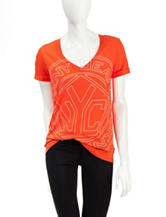 DKNY Jeans Orange Logo Print Top