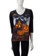 Onque Casuals Good Spirits Embellished Jack-O-Lantern Print Top
