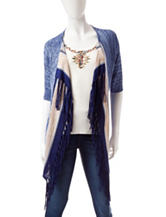 Ruby Rd. Blanket Statement Ombré Striped Print Fringe Cardigan