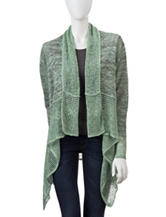 Energè Solid Color Mixed Knit Cascading Cardigan