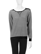 Cathy Daniels Athleisure Striped Knit Sweater