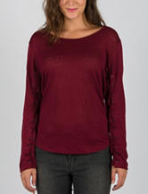 ABS Jeans by Allen Schwartz Dark Red Whipstitch Knit Top