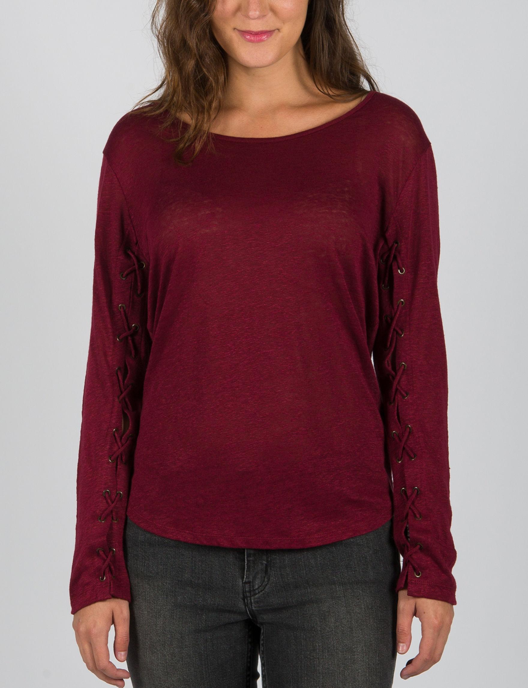 ABS by Allen Schwartz Dark Red Shirts & Blouses