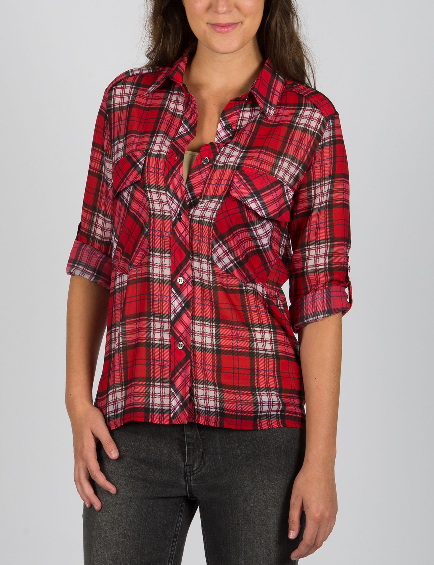 ABS by Allen Schwartz Red Plaid Shirts & Blouses