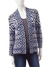 Ruby Rd. Navy Aztec Print Cardigan Sweater