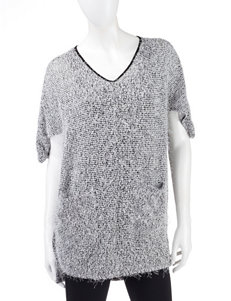 Nine West Jeans Black & White Fuzzy Marled Knit Tunic Sweater