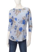 Hannah Tonal Blue Rose Print Top