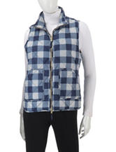 Caribbean Joe Buffalo Plaid Quilted Puffer Vest