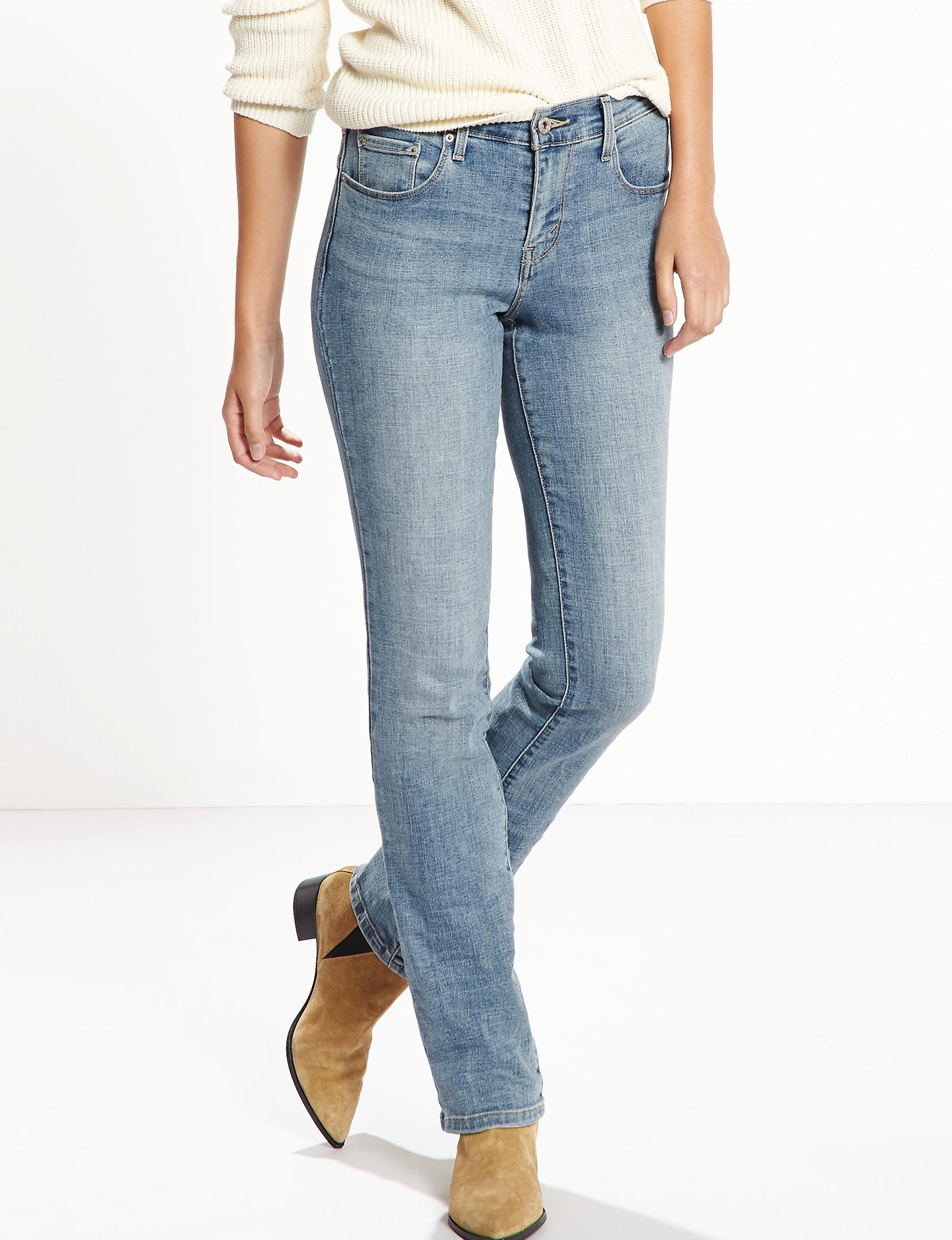 """Nouveau Levis Boot Cut Jeans in size 10 Long. 99% Cotton and 1% Lycra Spandex. One mark on back left waist band but could be covered by a belt. 16"""" across waist flat, 10"""" rise, and 34"""" inseam."""
