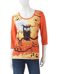 Onque Casuals Orange Shirts & Blouses Tees & Tanks