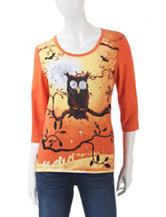 Onque Casuals Good Spirits Orange Harvest Moon Owl Print Top