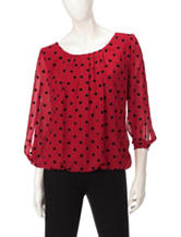 Rebecca Malone Red & Black Flocked Polka Dot Pleat Accent Bubble Top