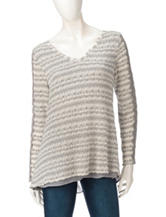 Hannah Heather Gray & Ivory Textured Knit Sweater