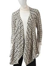 Energé Black & Ivory Geometric Striped Knit Cozy Top
