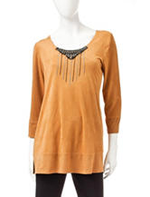 Valerie Stevens Brown Suedette Beaded Top