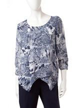 Valerie Stevens Blue & White Printed Sheer Top