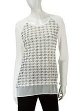 Valerie Stevens Houndstooth Foil Print Pullover Sweater