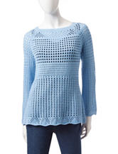 Hannah Solid Color Open Weave Sweater