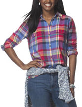 Chaps Multicolored Plaid Top