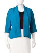 Kasper Plus-size Solid Color Flyaway Jacket