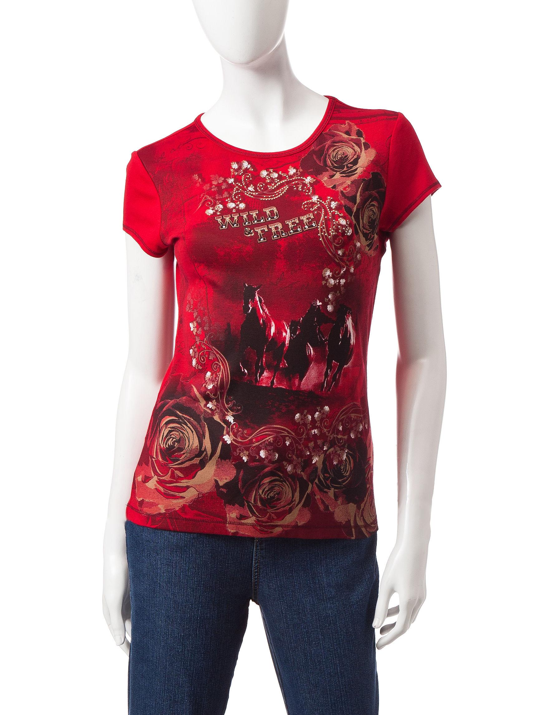 Blue Canyon Red Shirts & Blouses Tees & Tanks