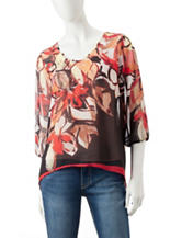 Energé Floral Printed Embellished Top