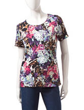 Rebecca Malone Floral Animal Print Knit Top