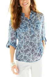 Hannah Light Blue Floral Chambray Top